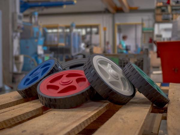 Rubber treaded wheels